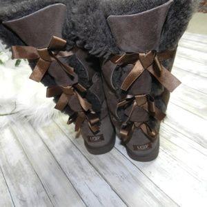Ugg Dark brown bailey bow tall sheepskin boots